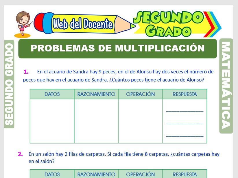 Ficha de Problemas de Multiplicación para Segundo Grado de Primaria
