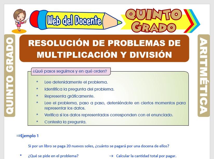 Problemas de Multiplicación y División para Quinto Grado de Primaria