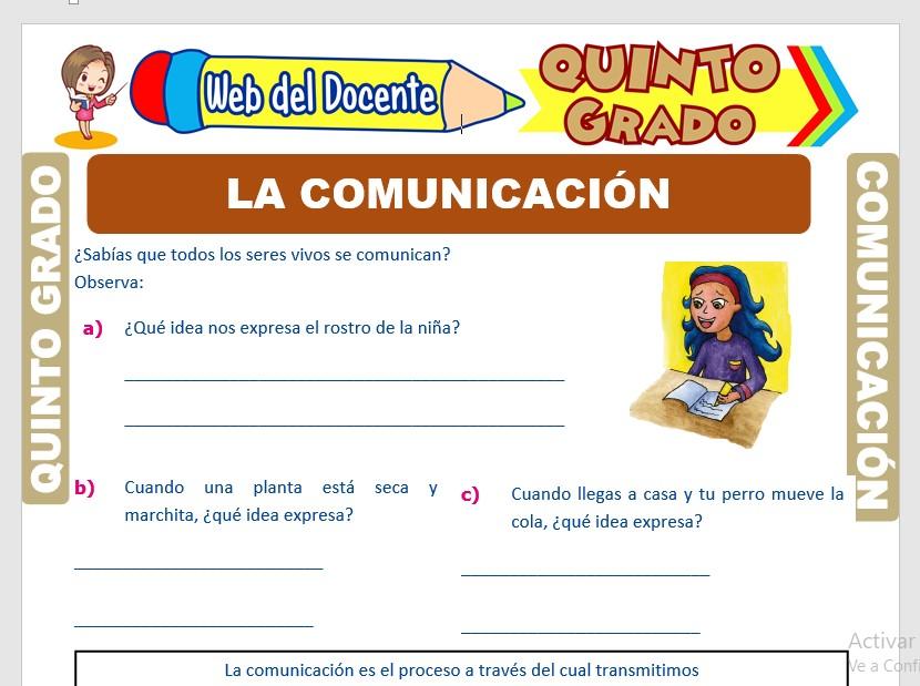 Ficha de Proceso de la Comunicación para Quinto Grado de Primaria