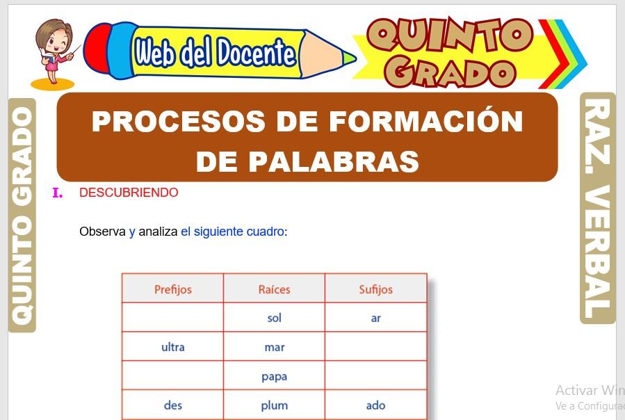 Ficha de Procesos de Formación de Palabras para Quinto Grado de Primaria