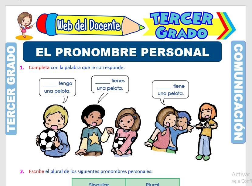 Ficha de Pronombres Personales para Tercer Grado de Primaria