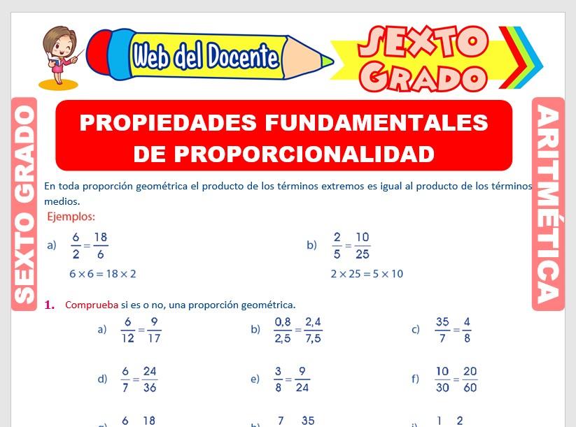Ficha de Propiedad Fundamental de Proporcionalidad para Sexto Grado de Primaria