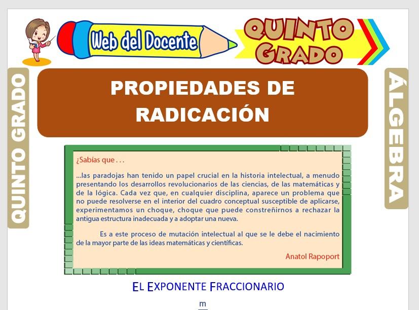 Ficha de Propiedades de Radicación para Quinto Grado de Primaria