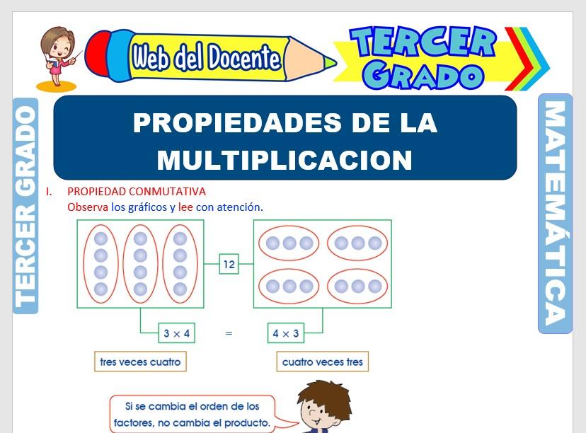 Ficha de Propiedades de la Multiplicación para Tercer Grado de Primaria