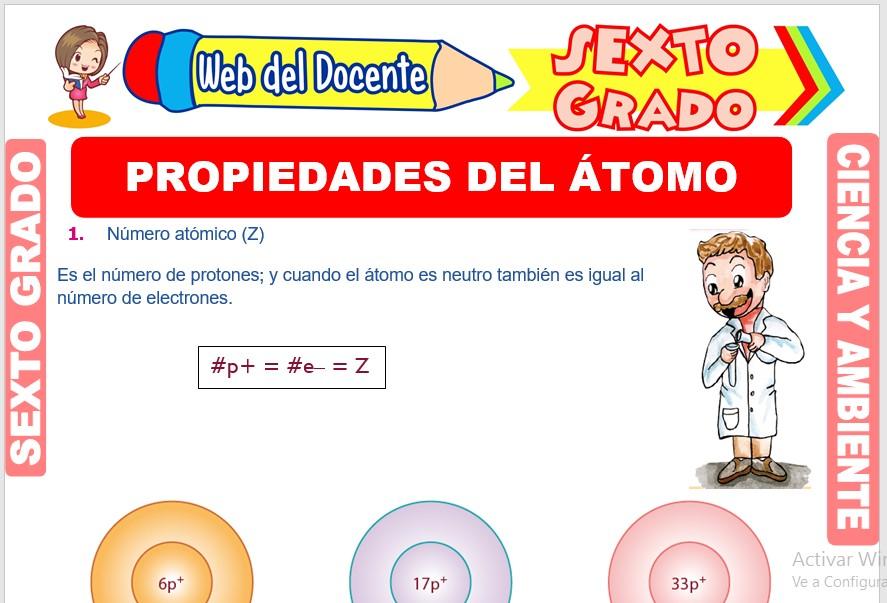Ficha de Propiedades del Átomo para Sexto Grado de Primaria