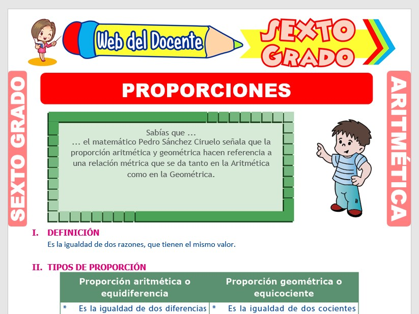 Ficha de Proporción Aritmética y Geométrica para Sexto Grado de Primaria