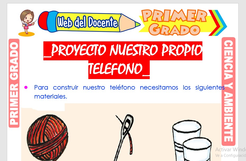 Ficha de Proyecto Nuestro Propio Teléfono para Primer Grado de Primaria