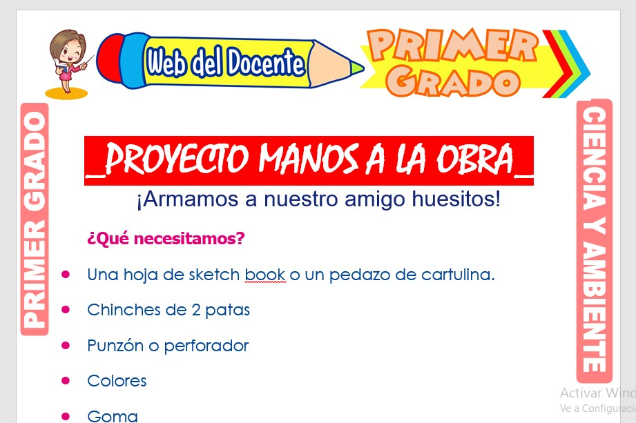Ficha de Proyecto Manos a la Obra para Primer Grado de Primaria