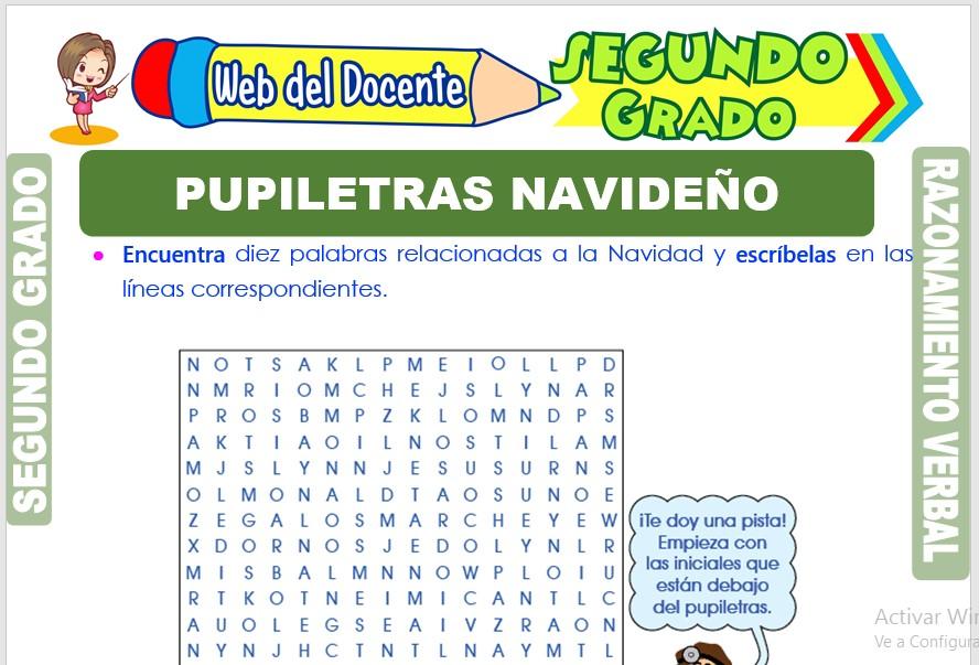 Ficha de Pupiletras Navideño para Segundo Grado de Primaria