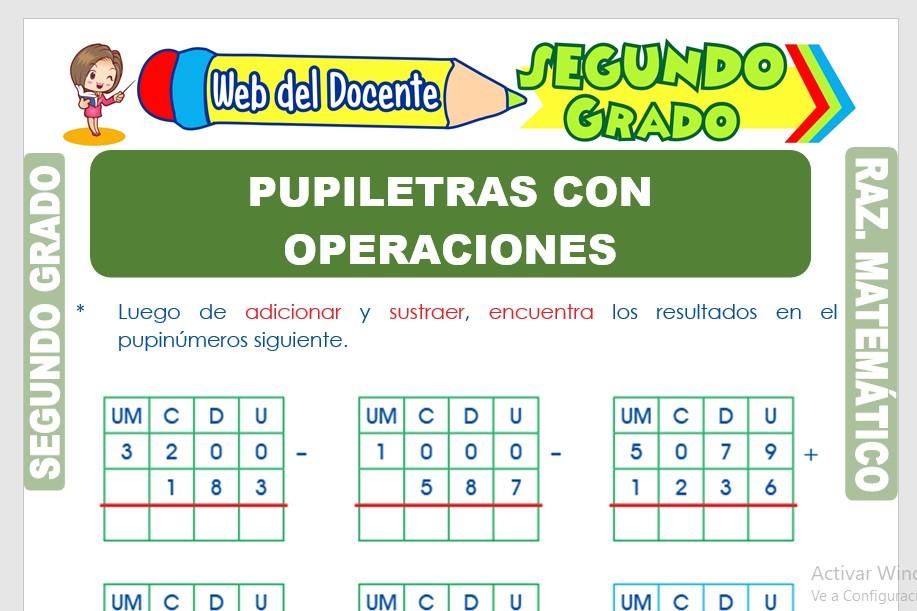 Ficha de Pupiletras con Operaciones Matemáticas para Segundo Grado de Primaria