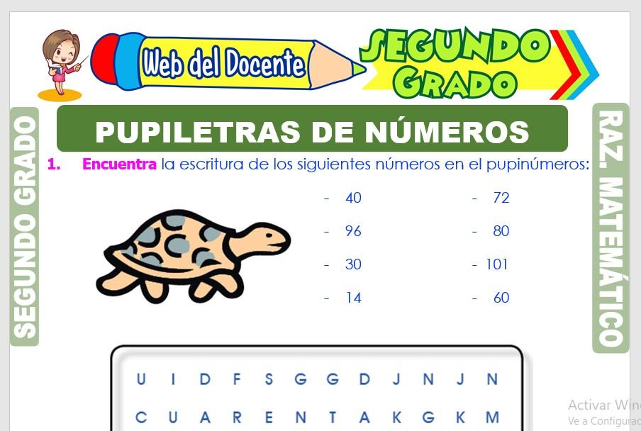 Ficha de Pupiletras de Números para Segundo Grado de Primaria