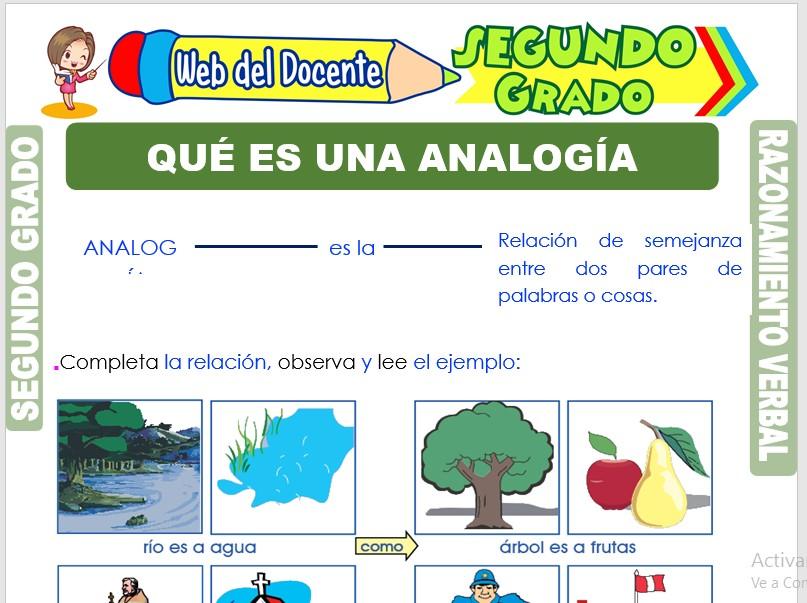 Ficha de Qué es una Analogía para Segundo Grado de Primaria
