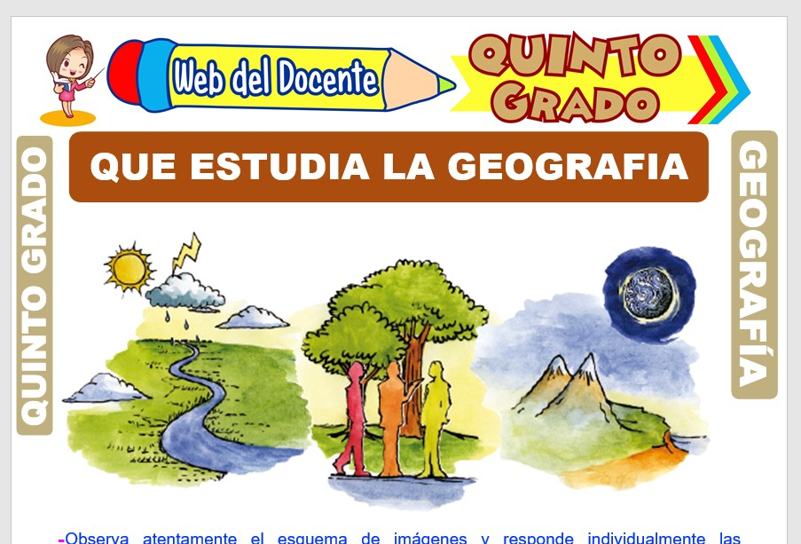 Ficha de Que Estudia la Geografía para Quinto Grado de Primaria