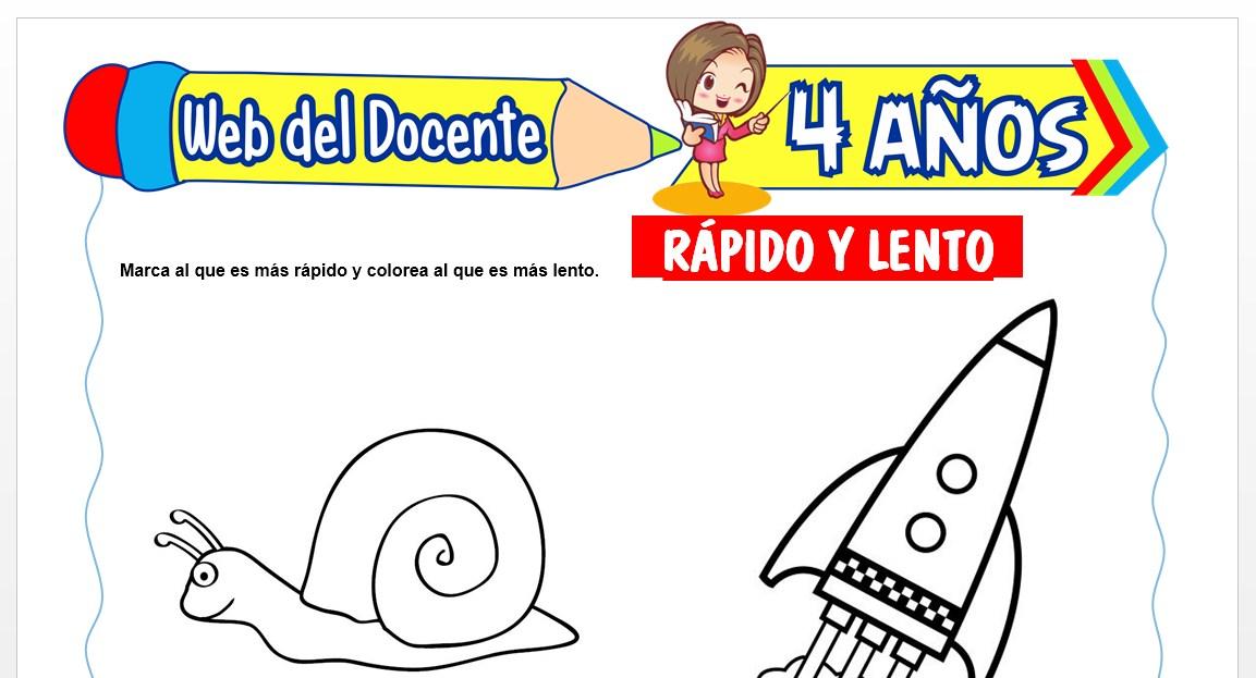 Ficha de Rápido y Lento para Niños de 4 AÑOS