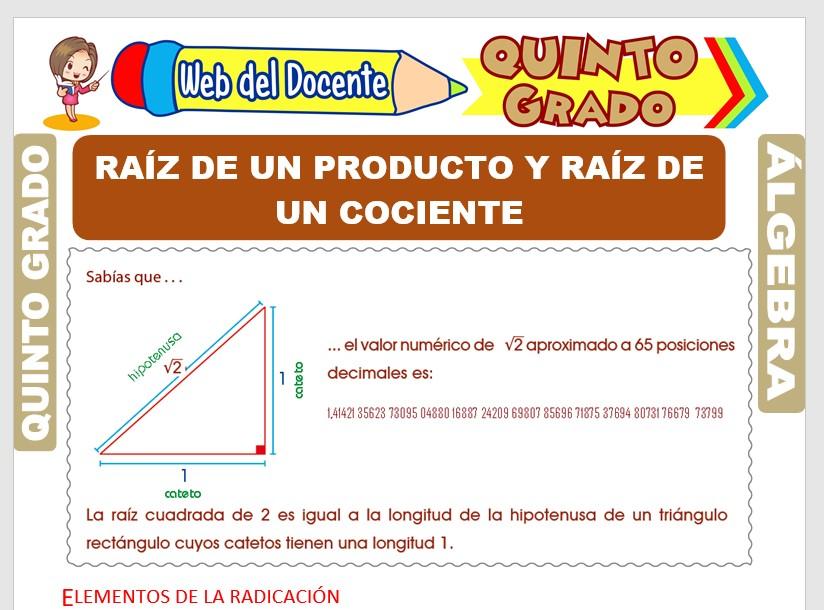Ficha de Raíz de un Producto y Raíz de un Cociente para Quinto Grado de Primaria