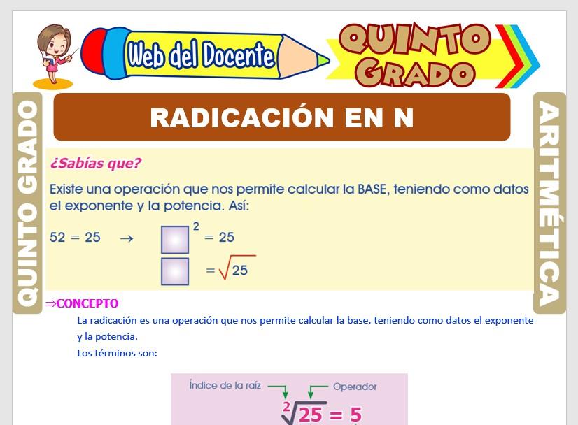 Ficha de Radicación en los Números Naturales para Quinto Grado de Primaria