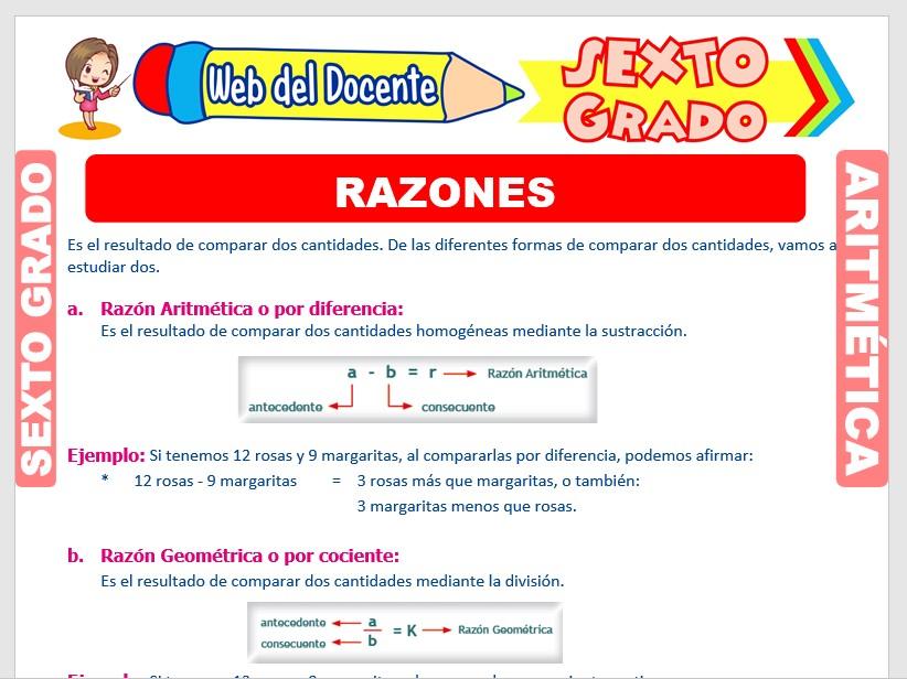 Ficha de Razón Aritmética y Geométrica para Sexto Grado de Primaria