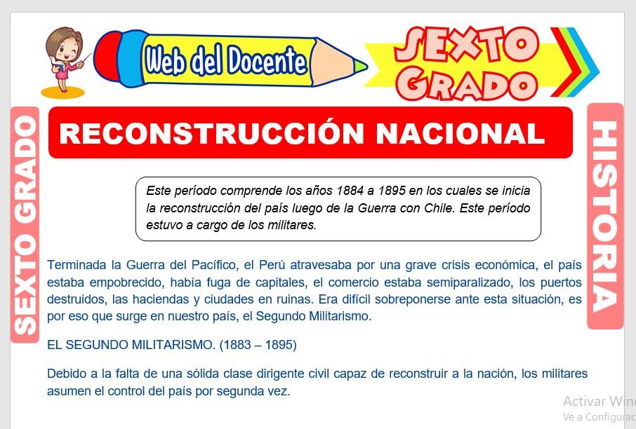 Ficha de Reconstrucción Nacional para Sexto Grado de Primaria