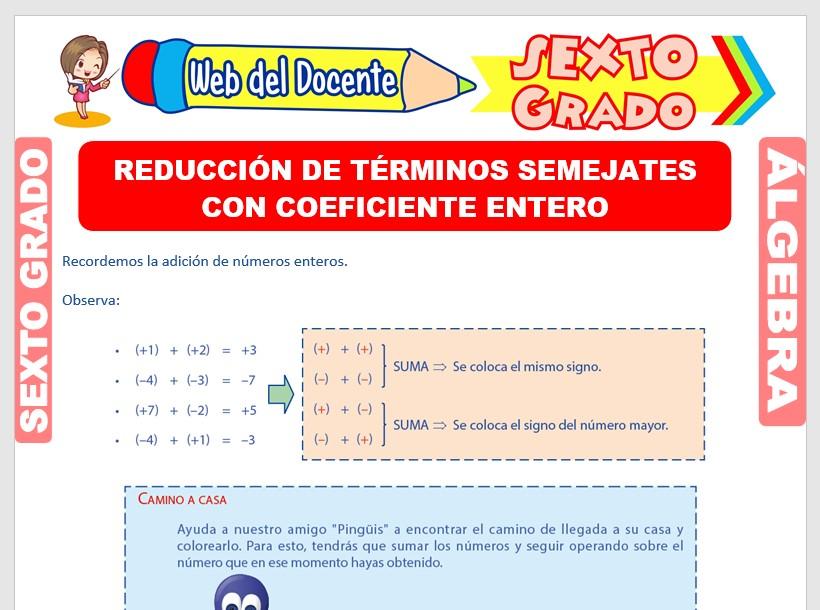 Ficha de Reducción de Términos Semejantes con Enteros para Sexto Grado de Primaria
