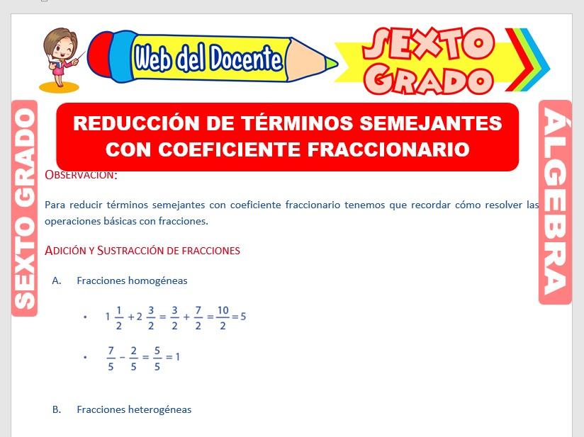 Ficha de Reducción de Términos Semejantes con Fracciones para Sexto Grado de Primaria