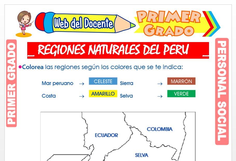 Ficha de Regiones Naturales del Perú para Primer Grado de Primaria