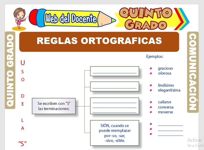 Ficha de Reglas Ortográficas para Quinto Grado de Primaria