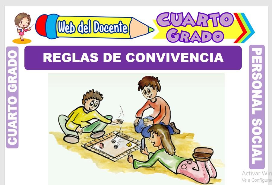 Ficha de Reglas de Convivencia para Cuarto Grado de Primaria