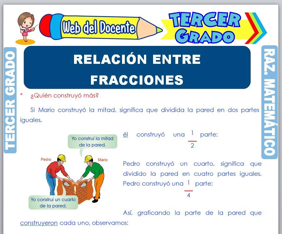 Ficha de Relación entre Fracciones para Tercer Grado de Primaria