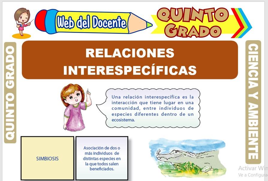 Ficha de Relaciones Interespecíficas para Quinto Grado de Primaria