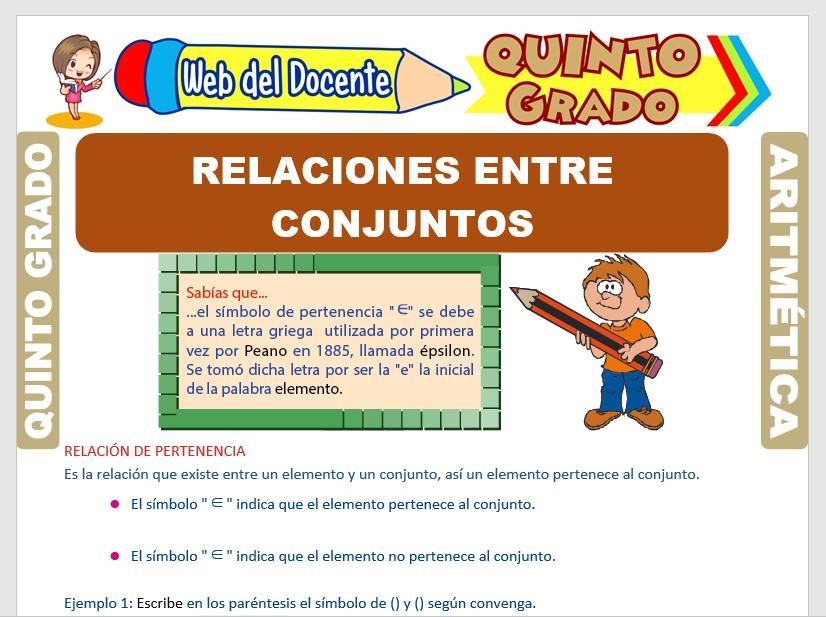 Ficha de Relaciones entre Conjuntos para Quinto Grado de Primaria