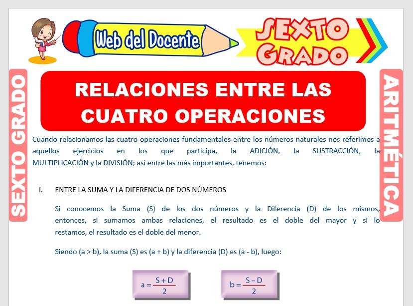 Ficha de Relaciones entre las Cuatro Operaciones para Sexto Grado de Primaria