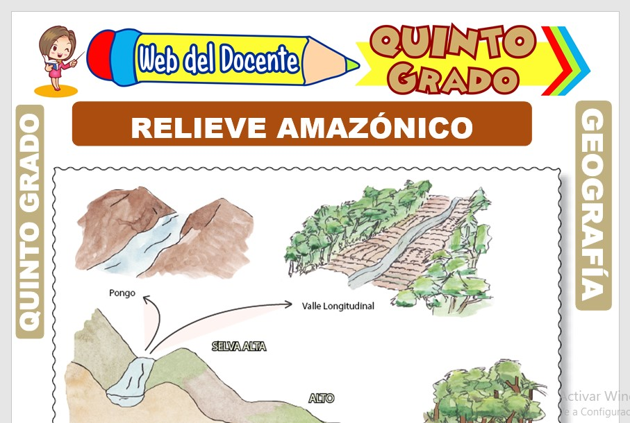 Ficha de Relieve Amazónico para Quinto Grado de Primaria