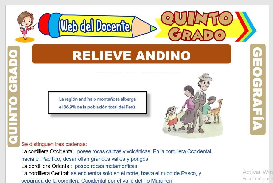 Ficha de Relieve Andino para Quinto Grado de Primaria
