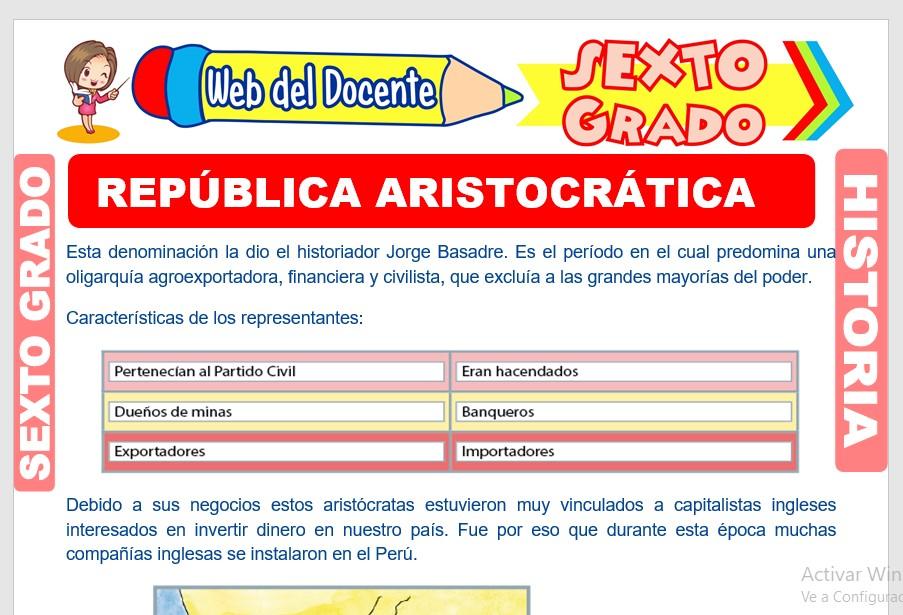 Ficha de República Aristocrática para Sexto Grado de Primaria
