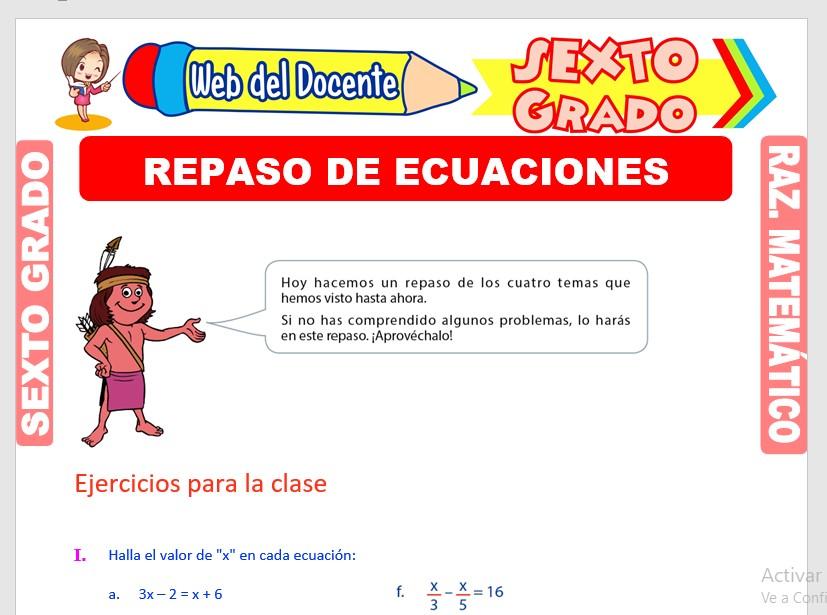 Ficha de Repaso de Ecuaciones para Sexto Grado de Primaria