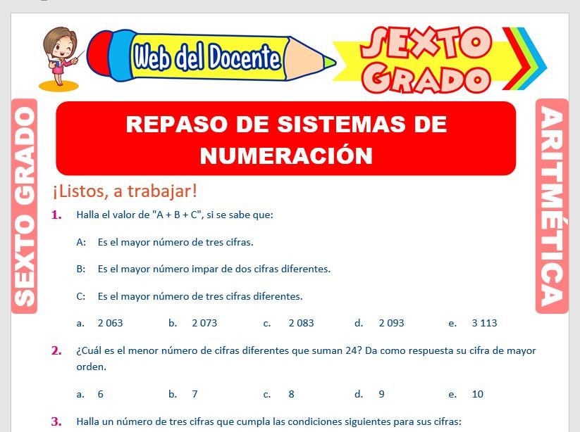 Ficha de Propiedades de los Números para Sexto Grado de Primaria