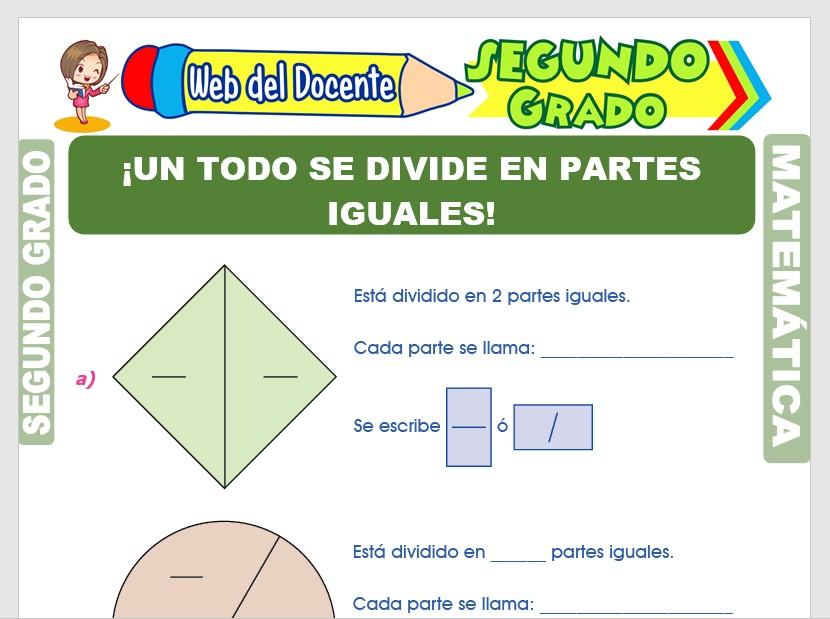 Ficha de Representación Gráfica de las Fracciones para Segundo Grado de Primaria