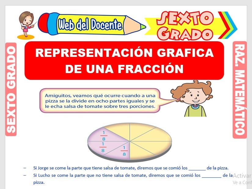 Ficha de Representación Gráfica de un Fracción para Sexto Grado de Primaria