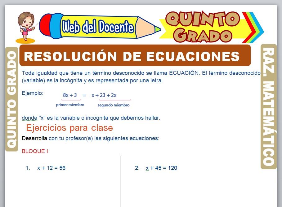Ficha de Resolución de Ecuaciones para Quinto Grado de Primaria