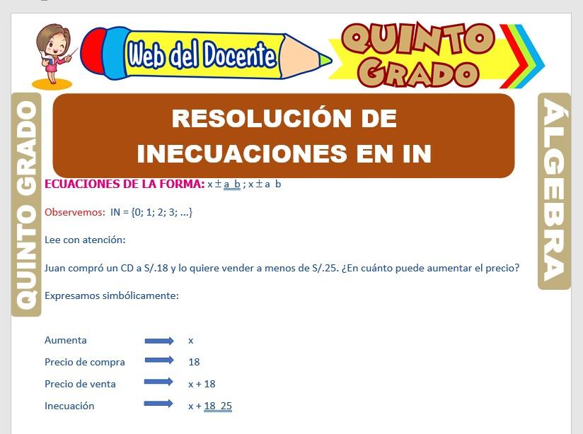 Ficha de Resolución de Inecuaciones para Quinto Grado de Primaria