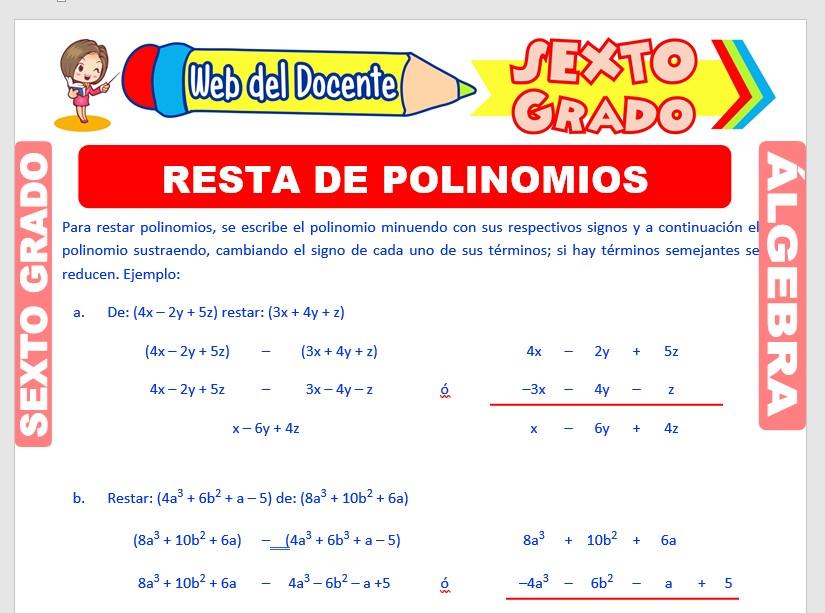 Ficha de Resta de Polinomios para Sexto Grado de Primaria
