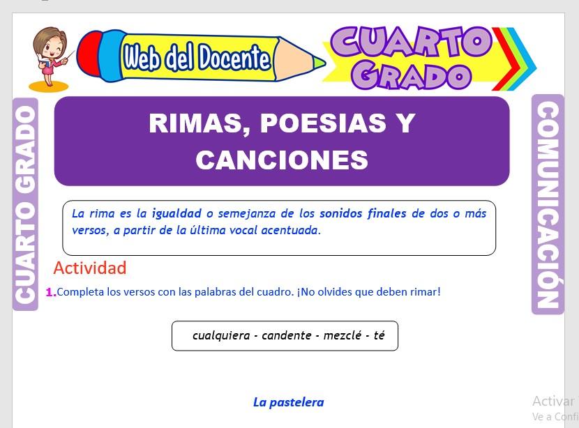 Ficha de Rimas, Poesías y Canciones para Cuarto Grado de Primaria