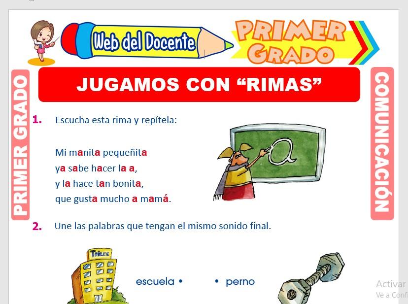 Ficha de Las Rimas para Primero de Primaria