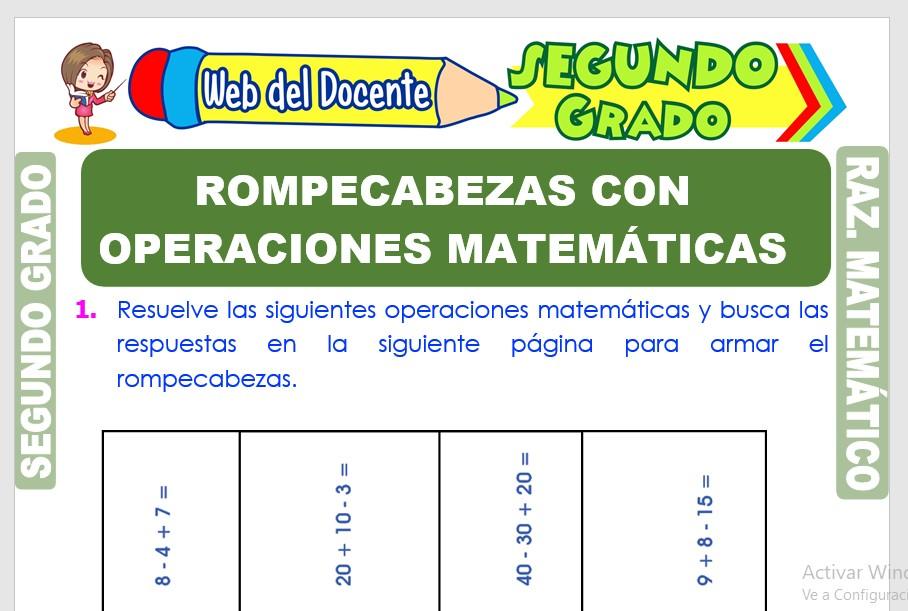 Ficha de Rompecabezas con Operaciones Matemáticas para Segundo Grado de Primaria