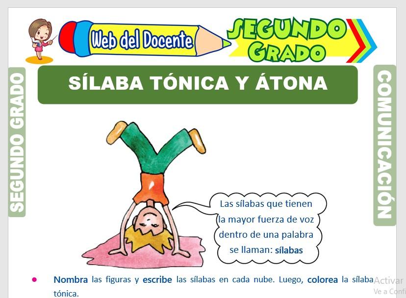 Ficha de Sílaba Tónica y Átona para Segundo Grado de Primaria
