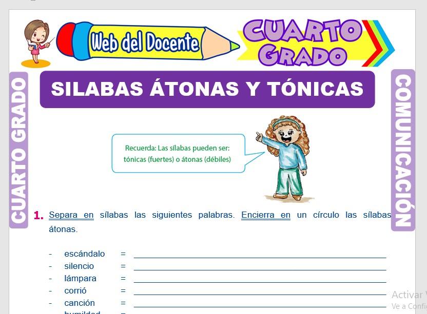 Ficha de Sílabas Átonas y Sílabas Tónicas para Cuarto Grado de Primaria