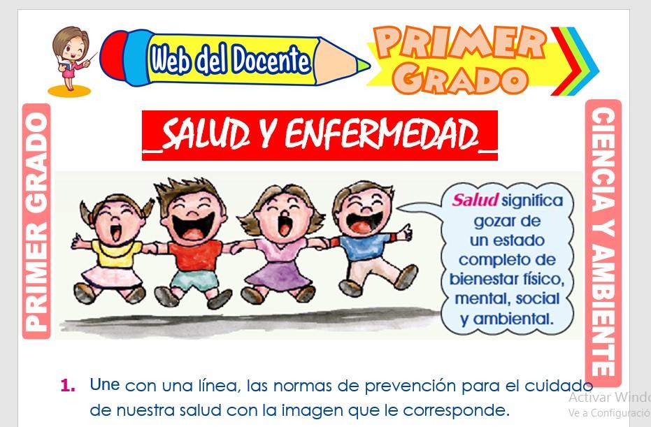 Ficha de Salud y Enfermedad para Primer Grado de Primaria