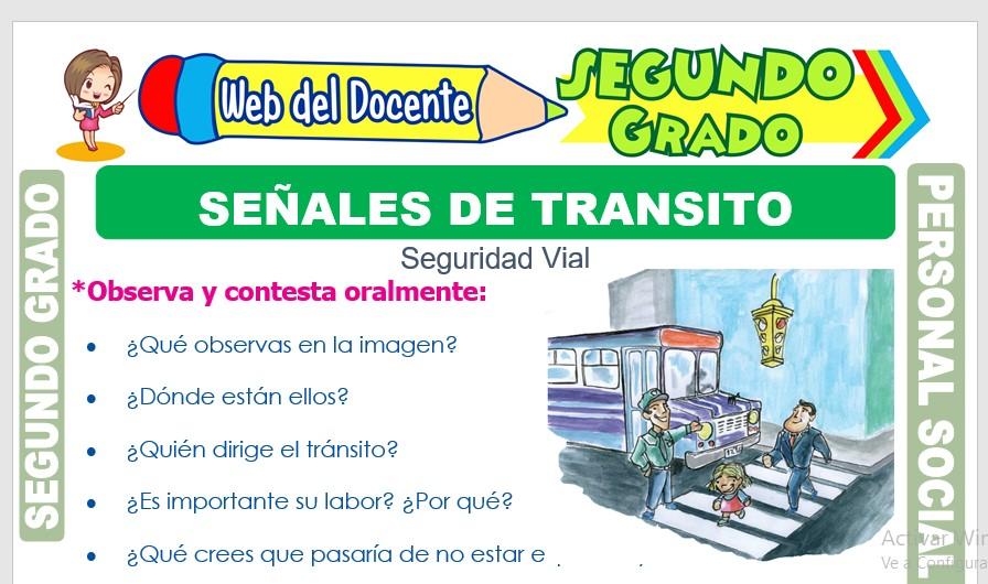 Ficha de Señales de Tránsito para Segundo Grado de Primaria