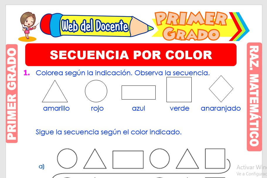 Ficha de Secuencia por Color para Primer Grado de Primaria
