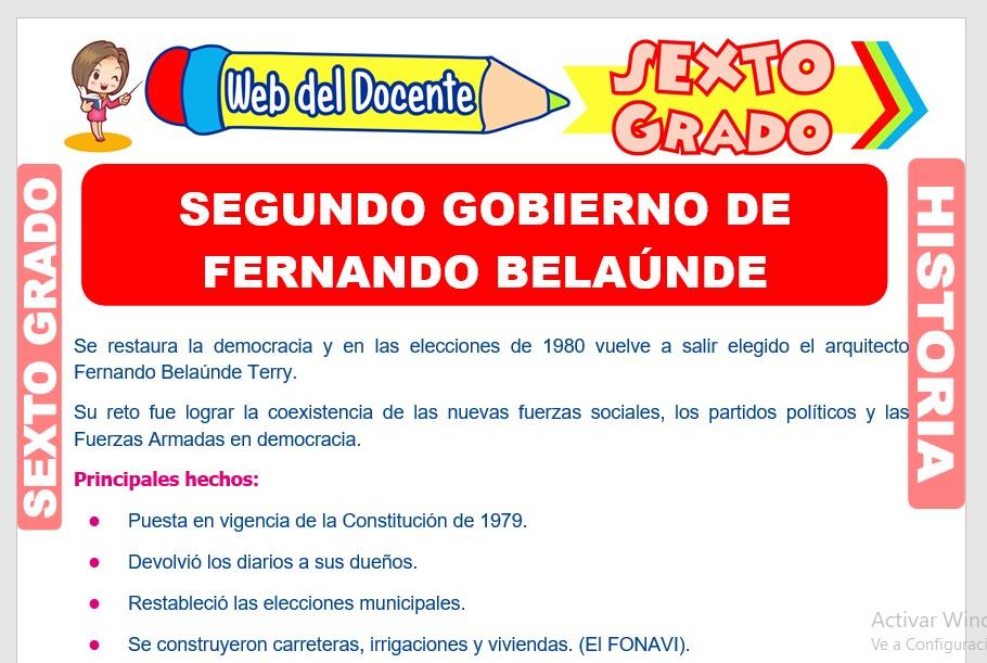 Ficha de Segundo Gobierno de Fernando Belaúnde para Sexto Grado de Primaria